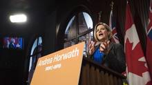 Ontario NDP Leader Andrea Horwath makes a campaign announcement at Queen's Park in Toronto on Wednesday May 14, 2014. (Aaron Vincent Elkaim/THE CANADIAN PRESS)