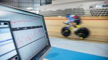 Annie Foreman-Mackey tests a riding stance meant to increase speed at the Mattamy National Cycling Centre in Milton, Ont. (GEOFF ROBINS/The Globe and Mail)