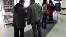 People line up at a Resource Canada office in Montreal on April 9, 2009. According to Statistics Canada, fewer than 7 per cent of all persons across Canada that claimed employment income in 2010 lived in Atlantic Canada. At the same time, however, Atlantic Canada made up 30 per cent of Canada's frequent EI claimants. (Ryan Remiorz/THE CANADIAN PRESS)