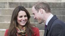 Britain's Prince William and Kate Duchess of Cambridge, smile during a visit to Dumfries House in Dumfries, Scotland, to attend the opening of an outdoor centre in this Friday April 5, 2013 file photo. (DANNY LAWSON/AP)