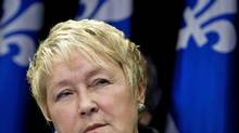 Parti Quebecois Leader Pauline Marois speaks during a Montreal news conference on Feb. 19, 2012. (OLIVIER JEAN/Olivier Jean/Reuters)