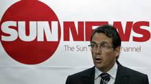 Quebecor chief executive Pierre Karl Peladeau unveils his plan to watch Sun TV News at a news conference in Toronto on June 15, 2010. (MIKE CASSESE/REUTERS)