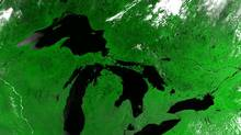 Satellite Image of the Great Lakes basin. (U.S. Army Corps of Engineers, Detroit District.)