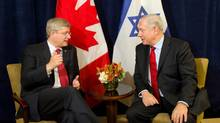 Prime Minister Stephen Harper takes part in a bilateral meeting with Israeli Prime Minister Benjamin Netanyahu in New York. (Sean Kilpatrick/THE CANADIAN PRESS)