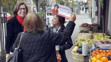 Ward 18 incumbent councillor Ana Bailao campaigns on Dundas Street in Toronto, October 16, 2014. (J.P. MOCZULSKI for The Globe and Mail)