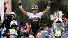 Switzerland's Fabian Cancellara celebrates a victory in the third stage of the Mallorca Challenge cycling race in Palma de Mallorca, Spain, on Jan. 30. (Joan Llado/AP Photo)
