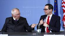 German Finance Minister Wolfgang Schaeuble and U.S. Treasury Secretary Steven Mnuchin speak in Berlin on March 16, 2017. (Michele Tantussi/Getty Images)