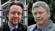 Matt Toner of the NDP, left, and Sam Sullivan of the B.C. Liberals, both candidates in the riding of Vancouver-False Creek. (Darryl Dyck/The Canadian Press)