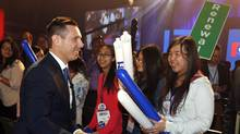 Ontario Progressive Conservative Leader Patrick Brown shakes hands with young supporters after he delivered a speech at the Ontario Progressive Conservative convention in Ottawa, Saturday , March 5, 2016. (FRED CHARTRAND/THE CANADIAN PRESS)