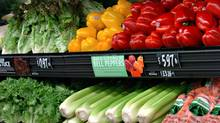 A display of fruits and vegetables in the new grocery section of the new Wal-mart Supercentre in Stouffville, Ontario, Canada, opening Wednesday November 08, 2006. (Deborah Baic/Deborah Baic /The Globe and Mail)