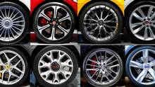 A combination photo of various car wheels at the Frankfurt Motor Show. (Reuters)