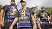 Ron Cogan and Marty Ward join other members of the Iroquois Nationals lacrosse team (Frank Franklin II/AP)