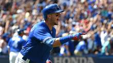 Toronto Blue Jays shortstop Troy Tulowitzki reacts after hitting a grand slam home run against the Boston Red Sox in the third inning at Rogers Centre. (Dan Hamilton/USA Today Sports)
