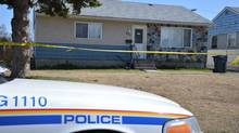 An RCMP vehicle sits outside a crime scene in Prince George, B.C. (RCMP)