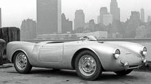 The first Porsche 550 Spyder imported into the United States by Max Hoffman sits on the New York docks. (Porsche)