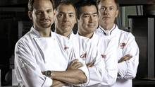 Meeting the new guys: Scott Pohorelic (left), former executive chef at the River Cafe, and Hayato Okamitsu (second from right), former executive chef at Catch, start teaching this fall, alongside veteran chef-profs Thierry Meret (second from left) and Andrew Hewson (right). (Chris Bolin for The Globe and Mail)