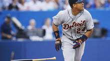 Detroit Tigers Miguel Cabrera hits a three run home run against the Toronto Blue Jays during the second inning of their MLB American League baseball game in Toronto, July 2, 2013. (MARK BLINCH/REUTERS)