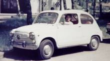 Columnist Peter Cheney's mother, Tharon Cheney, in his Fiat 600 (which she later backed into a ditch) (Peter Cheney/Peter Cheney)