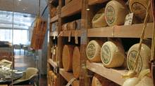 Wheels stored in the Toronto Ritz-Carlton's new cheese room. (Fernando Morales/The Globe and Mail/Fernando Morales/The Globe and Mail)