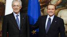 Silvio Berlusconi, right, has forced a political ambush of the government of Italian Prime Minister Mario Monti, left, rattling the country's bond market and threatening to push the euro zone's third-largest economy back to the forefront of the debt crisis. (STEFANO RELLANDINI/REUTERS)