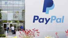 A PayPal sign is seen at an office building in San Jose, Calif. (BECK DIEFENBACH/REUTERS)
