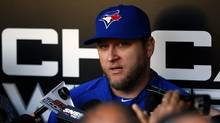 Toronto Blue Jays starting pitcher Mark Buehrle addresses the media before the start of his team's game against the Chicago White Sox in Chicago June 10, 2013. (JEFF HAYNES/REUTERS)