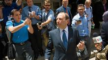 NHL commissioner Gary Bettman leaves a U.S. bankruptcy court in Phoenix earlier this month. (Michael Schennum/AP)