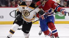 Boston Bruins forward Carl Soderberg battles with Montreal Canadiens forward Max Pacioretty during the second period in game three of the second round of the 2014 Stanley Cup Playoffs at the Bell Centre in Montreal on May 6. (Eric Bolte/USA Today Sports)