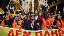 Demonstrators during the second day of a national strike in Athens, Greece, on Oct. 20, 2011. (Kostas Tsironis/Bloomberg)