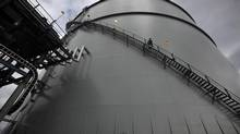 An LNG storage tank towers 12-storeys high at a natural gas storage facility in Mt. Hayes, B.C. (CHAD HIPOLITO For The Globe and Mail)
