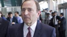 NHL commissioner Gary Bettman leaves after collective bargaining talks in Toronto on Tuesday October 16, 2012. (The Canadian Press)