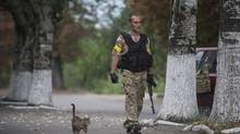 "A Ukrainian government soldier from battalion ""Donbass"" walks along a street near their positions as a cat follows him in the village of Mariinka near Donetsk, eastern Ukraine. The Red Cross will lead an international humanitarian aid operation into Ukraineís conflict-stricken province of Luhansk with assistance from Russia, the European Union and the United States. (Evgeniy Maloletka/AP)"