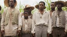 Best actor nominee Chiwetel Ejiofor, second right, in 12 Years a Slave. (FRANCOIS DUHAMEL/NYT)
