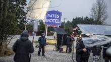 "A film crew on the set of ""Bates Motel,"" in Aldergrove, British Columbia. NDP Leader Adrian Dix had promised a 40 per cent tax break for the province's film industry. (STUART ISETT/NYT)"