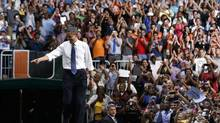 U.S. President Barack Obama walks in to speak in the BankUnited Center at the University of Miami. (LARRY DOWNING/REUTERS)