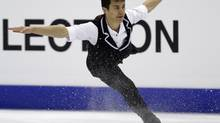 Patrick Chan of Canada performs during the men's short program at the ISU World Figure Skating Championships in Nice March 30, 2012. (VINCENT KESSLER/REUTERS)