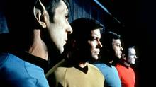 "This undated file photo shows actors in the TV series ""Star Trek,"" from left, Leonard Nimoy as Commander Spock, William Shatner as Captain Kirk, DeForest Kelley as Doctor McCoy and James Doohan as Commander Scott. (Anonymous/AP)"