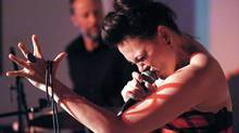 Inuit singer Tanya Tagaq performs from her new album during an intimate private event at the Fehely Fine Art gallery in Toronto, May 20, 2014. (J.P. Moczulski For The Globe and Mail)