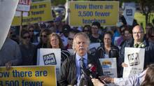BCTF president Jim Iker, backed by striking teachers at Delta Secondary School in Ladner on June 17, 2014. (John Lehmann/The Globe and Mail) (John Lehmann/The Globe and Mail)