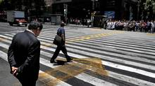 A group of pedestrian cross Avenida Refoma, o the main artery in downtown Mexico City, May 15 2012. (Fernando Morales/Fernando Morales/The Globe and Mail)