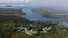 Pacific NorthWest LNG hopes to build an $11.4-billion liquefaction terminal on Lelu Island (left). (www.lonniewishart.com)