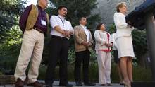 Ontario Premier Kathleen Wynne, right – with aboriginal leaders Clement Chartier, Terry Audla, Shawn Atleo and Betty Ann Lavallee – speaks to the mediain Niagara-on-the-Lake, Ont., on July 24, 2013. (AARON LYNETT/THE CANADIAN PRESS)