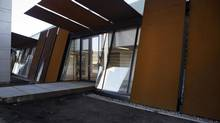 A visitors centre, clad in weathered steel, is central to Fort York's new connectivity with Toronto. It opens Saturday. (Matthew Sherwood For The Globe and Mail)
