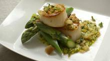 Seared Scallops and Asparagus with Meyer Lemon Pesto (Kevin Van Paassen For The Globe and Mail)
