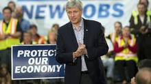 Conservative leader Stephen Harper speaks to supporters while campaigning Sept. 22, 2015 in Winnipeg. Mr. Harper said he believes his party could replicate the number of jobs created since the 2008 global recession. (Ryan Remiorz/The Canadian Press)
