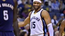 In this Nov. 2, 2016, file photo, Memphis Grizzlies guard Vince Carter (15) reacts in the first half of an NBA basketball game against New Orleans, in Memphis, Tenn. Unfortunately for his Canadian fans, the hip he injured in Monday's game against Charlotte prevented Carter from suiting up for what might have been his Toronto swan song. (Brandon Dill/AP)