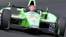 IndyCar driver James Hinchcliffe, of Canada, drives through the first turn on the final day of practice for the Indianapolis 500 auto race at the Indianapolis Motor Speedway in Indianapolis, Friday, May 25, 2012. The 96th running of the race is Sunday. (AP Photo/AJ Mast) (AJ Mast)