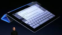 Apple CEO Steve Jobs speaks about the iPad 2 at the Yerba Buena Center for the Arts on March 2, 2011 in San Francisco, California. (Justin Sullivan/Getty Images)