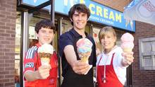 Greig Perantinos, centre, is the owner of Cool Moose Creamery, an ice-cream shop with two Ontario locations, one in Tottenham and one in Alliston.