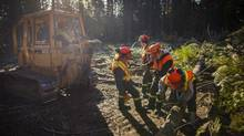 Students from Charles Bloom high school in Lumby, B.C., run a cable out to a cut log to be towed as part of the school's forestry program. (John Lehmann/The Globe and Mail)